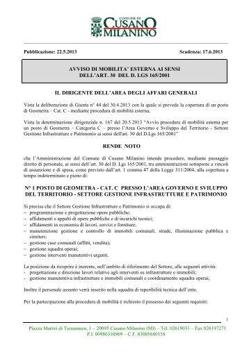 avviso di mobilita' esterna ai sensi dell'art. 30 del d. lgs 165/2001 il ...