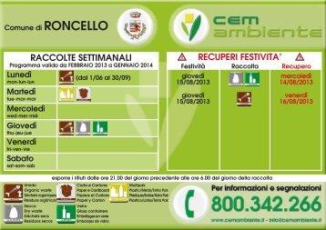 Calendario ritiro rifiuti 2013 .pdf - Comune di Roncello