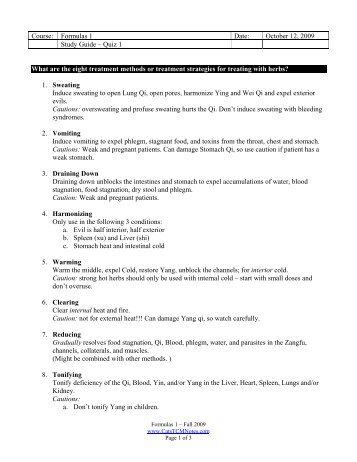 Quiz 1 Study Guide - CatsTCMNotes