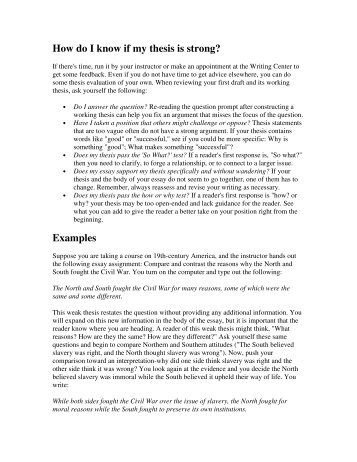 How do I know if my thesis is strong? Examples - Solon City Schools