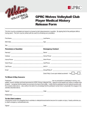 GPRC Wolves Volleyball Club Player Medical History Release Form