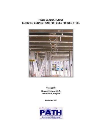 field evaluation of clinched connections for cold formed steel