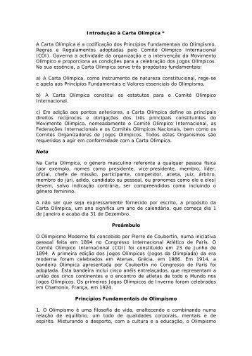 Introdução à Carta Olímpica - Instituto do Desporto de Portugal