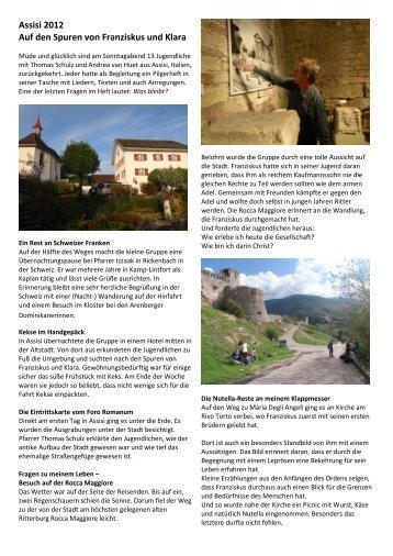 Assisi 2012 Auf den Spuren von Franziskus und Klara - St. Josef ...