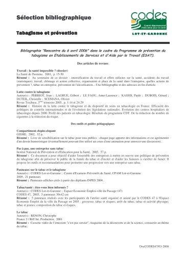 biblio tabac 6-04-2006