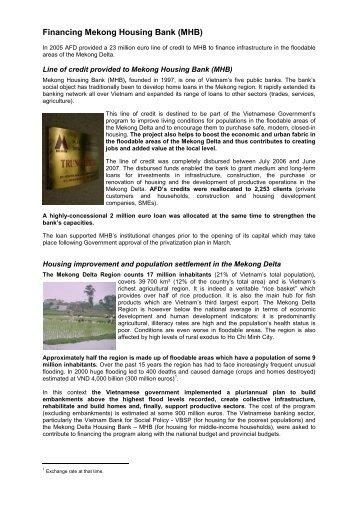 Fiche - Financing Mekong Housing Bank