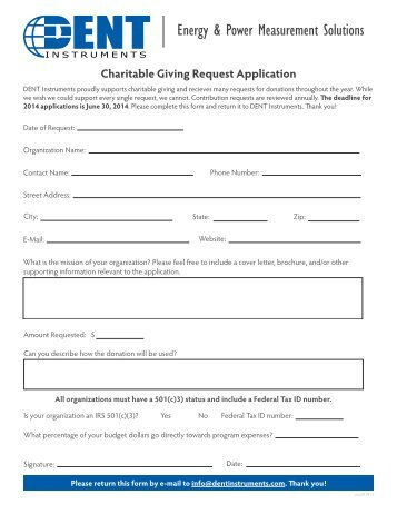 Charitable Giving Request Application (pdf) - DENT Instruments