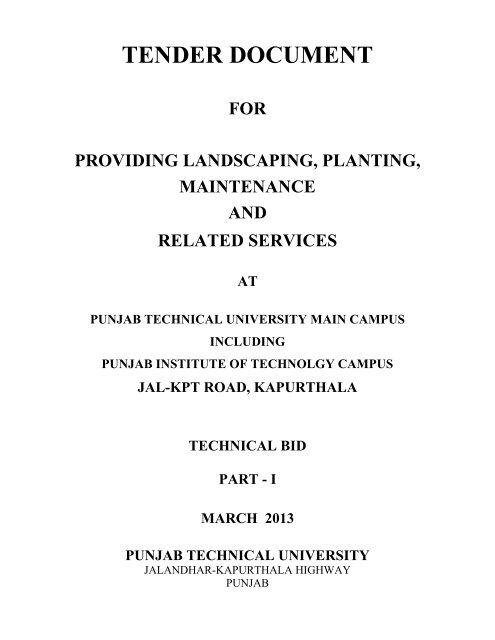 Tender Document For Providing Landscaping Planting Ptu Ac In