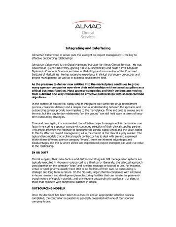 Integrating and Interfacing - Almac