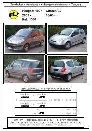 Peugeot 1007 Citroen C2 2005 - …. 10/03 - … Ref. 1536