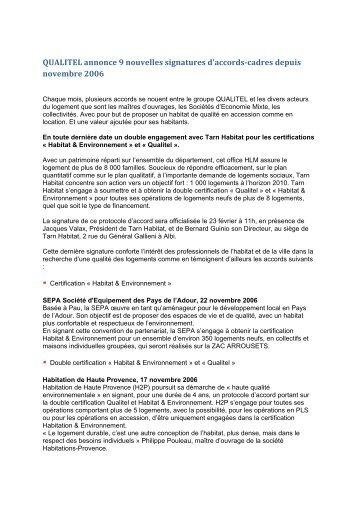 QUALITEL annonce 9 nouvelles signatures d'accords-cadres depuis ...
