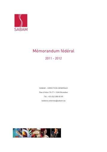 Mémorandum fédéral 2011 - 2012 - Sabam