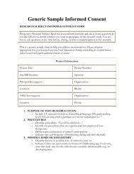 Generic Sample Informed Consent Form - Department of Energy ...