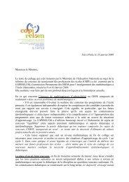 Fait à Paris, le 25 janvier 2009 Monsieur le Ministre, Le texte de ...