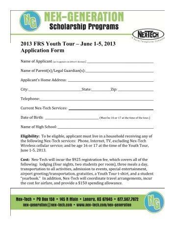2013 FRS Youth Tour âu20acu201c June 1 5, 2013 Application Form