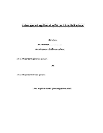 Anlage Iii Muster Nutzungsvertrag Und Freier Trãƒâger