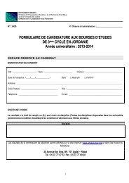 Dossier de candidature aux bourses d'études de 3ème cycle en ...