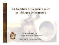 La tradition de la guerre juste et l'éthique de la ... - Dr. Walter Dorn