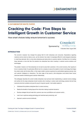 Five Steps to Intelligent Growth in Customer Service - Convergys