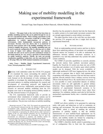 Making use of mobility modelling in the experimental framework