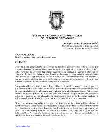 POLÍTICAS PÚBLICAS EN LA ADMINISTRACIÓN DEL ... - Colparmex