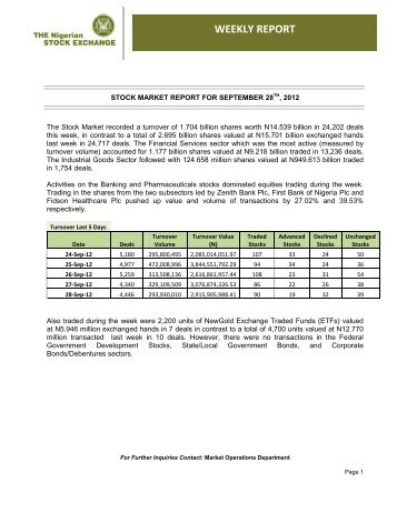 Weekly Market Report for 28-09-2012 - The Nigerian Stock Exchange