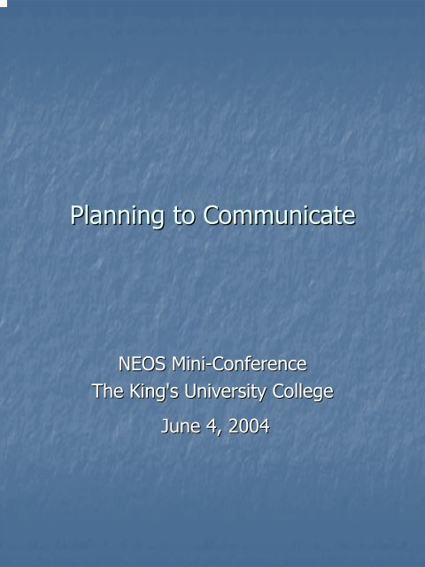 Planning to Communicate - NEOS Library Consortium