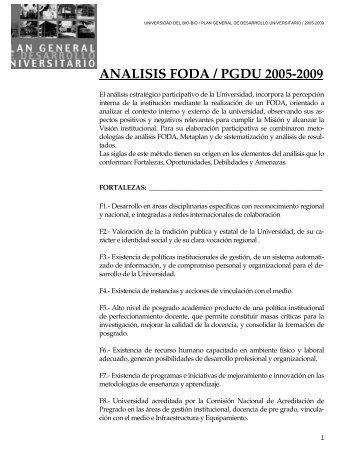 ANALISIS FODA / PGDU 2005-2009 - Universidad del Bío-Bío