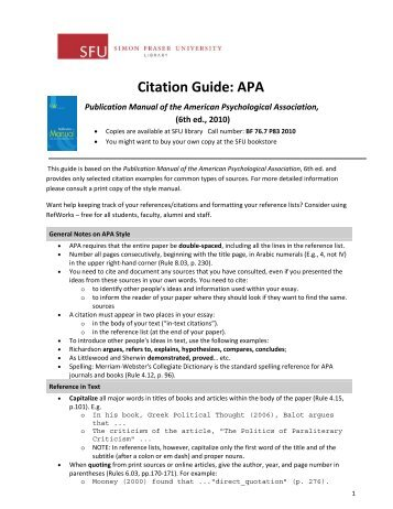 Citation Guide: APA - SFU Library - Simon Fraser University