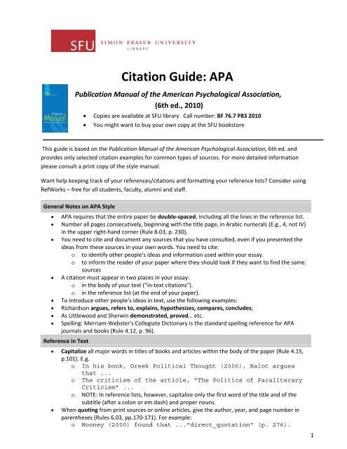 Citation Guide: APA - SFU Library - Simon Fraser University
