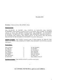 Compte-rendu synthétique du Conseil municipal du 18 octobre 2011