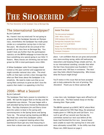 THE SHOREBIRD - Barnegat Bay Yacht Racing Association