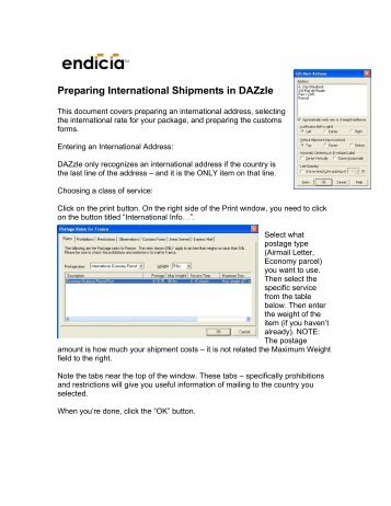 Preparing International Shipments in DAZzle - Endicia