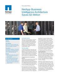 NetApp Business Intelligence Architecture Saves $3 Million