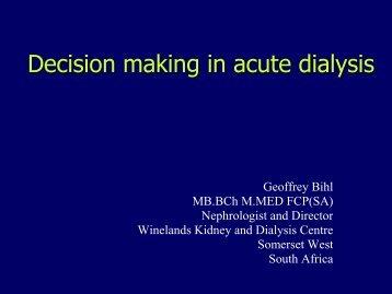Decisons in Acute Dialysis