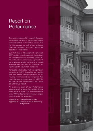 Report on Performance - BC Housing