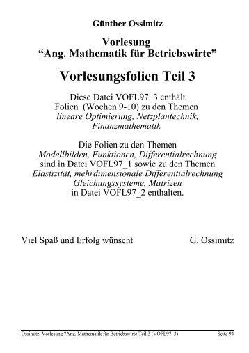 Angewandte Mathematik für Betriebswirte, Teil 3