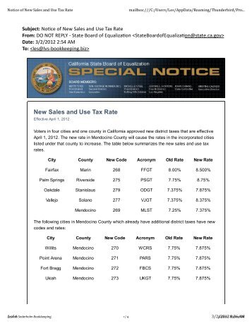Notice of New Sales and Use Tax Rate - Les von Sederholm ...