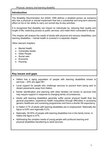 Physical sensory and learning disability - Halton and St Helens PCT