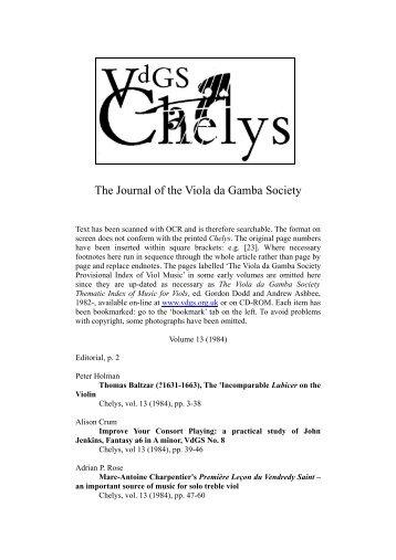 13 Titles - Viola da Gamba Society
