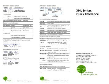 XML Syntax Quick Reference - Mulberry Technologies, Inc.