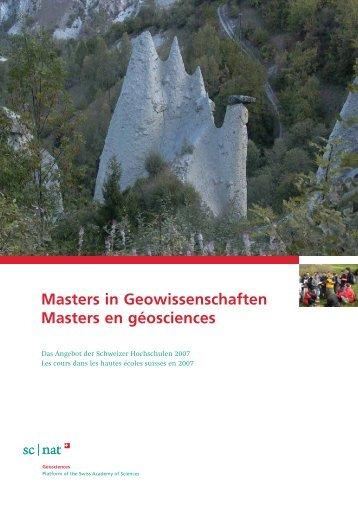 Masters in Geowissenschaften Masters en géosciences - Platform ...