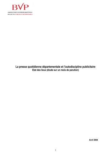 La presse quotidienne départementale et l'autodiscipline ... - ARPP