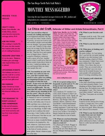 Mafia Newsletter December - The San Diego North Park Craft Mafia!!
