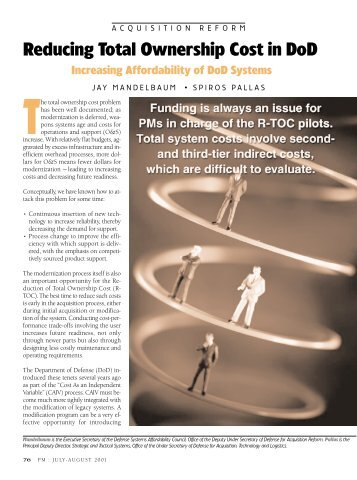 Reducing Total Ownership Cost in DoD - Defense Acquisition ...