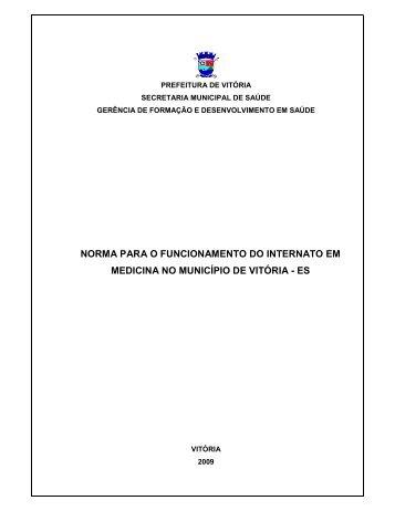 norma para o funcionamento do internato em medicina no município ...