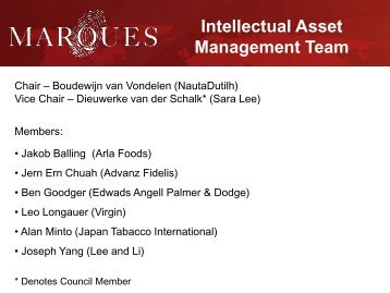 Intellectual Asset Management Team - Marques