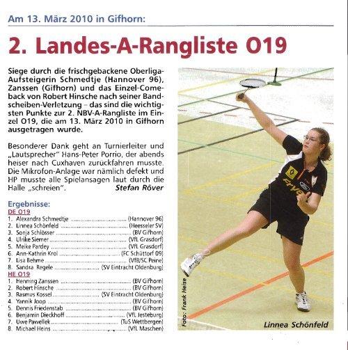 NBV-C-RLT Einzel U9-U22 - Badmintonteam Heesseler SV