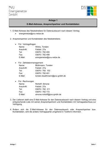 Anlage 1 E-Mail-Adresse, Ansprechpartner und Kontaktdaten - PVU ...
