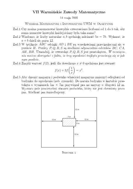 VII Warmi«skie Zawody Matematyczne - Wydział Matematyki i ...